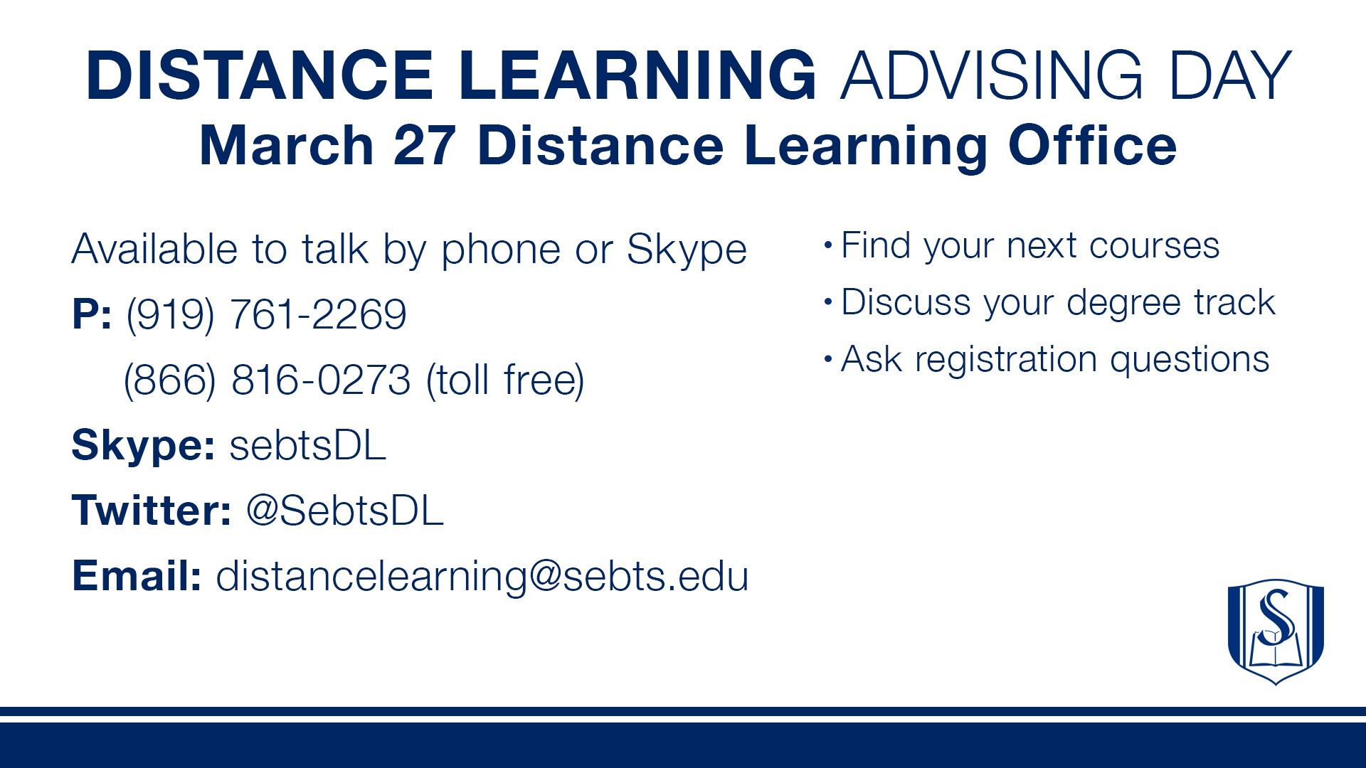 Distance Learning Graduate Advising March 27 Around Southeastern